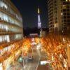 けやき坂のイルミネーションとシャンパンカラーの東京タワー